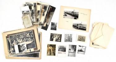 cca 1914-1975 egyes fotó tétel, kb. 60-70 db fotó, változó állapotban, 23x17 cm és 6x4 cm közötti méretben.