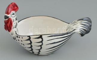 Svájci kakas formájú kerámia tál, kézzel festett, kopásokkal, 21,5x11x12 cm