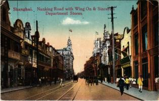 1924 Shanghai, Nanking (Nanjing) Road with Wing On & Sinceres Department Stores, shops, carriages (EK)