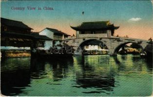 Country View in China, boat. Chrom. Edit Kingshill (Shanghai) (EK)