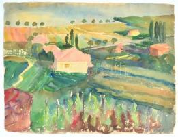 Ádámffy László (1902-?)Táj házzal, 1937. Akvarell, papír, jelzett és datált, lap szélén apró szakadásokkal, 34×44,5 cm