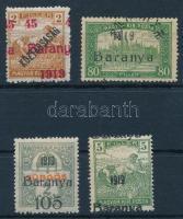 Baranya I.-II. 1919 4 db bélyeg eltolódott felülnyomással, Bodor vizsgálójellel