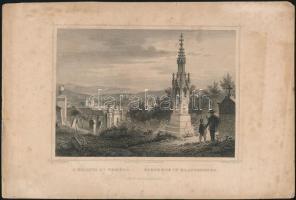 cca 1860 Ludwig Rohbock (1820-1883): A kolosvári (kolozsvári) temető, acélmetszet, papír, foltos, lap szélén apró szakadásokkal, 11x15,5 cm