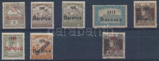 Baranya I. 1919 7 érték antikva felülnyomással + Károly próbanyomat, garancia nélkül (**266.000)