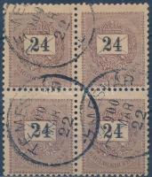 1899 24kr négyes tömb III. vízjel! Talán a legritkább összefüggés a Krajcárosok között RRRR! (150.000+)