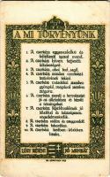 1924 A Mi Törvényünk. Légy résen, Jó munkát! 1922. Kiadja a Magyar Cserkész Szövetség hivatalos lapja a Magyar Cserkész / Our Law. Hungarian boy scout art postcard s: Ifj. Gerritsen (EB)