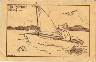 Ha csónak nincs... A Magyar Cserkész kiadása / Hungarian boy scout art postcard s: Velősy B. (kis szakadás / small tear)