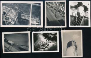 1939 Kutatásra érdemes fényképek egy magyar család albumából, 6 db vintage fotó, az egyik feliratozva, az egyik képen lehet hogy a szerző látható, 3x4 cm és 4,3x7 cm között