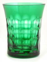 Christian Lacroix jelzéssel zöld üveg pohár, hámozott, kopásnyomokkal, m: 11 cm