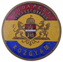 ~1930. Budapest Székesfőváros - KÖZGYÁM zománcozott fém jelvény (28mm) T:2