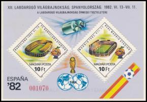 1982 Labdarúgó világbajnokság IV. - Spanyolország blokk A Magyar Posta ajándéka hátoldali felirattal (30.000)