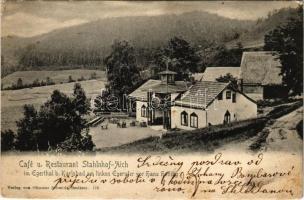 1905 Doubí, Aich (Karlovy Vary, Karlsbad); Café u. Restaurant Stahlnhof-Aich im Egertal b. Karlsbad am linken Egerufer vor Hans Heiling / café, restaurant (EK)