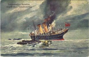 Tengeralattjáró támadása / Angriff eines Unterseebootes / WWI Austro-Hungarian Navy, K.u.K. Kriegsmarine art postcard, attack of a submarine s: Harry Heusser