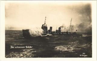 Bei schwerem Wetter / German Navy battleship. W. Krüger photo