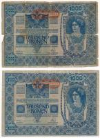 Ausztria 1919. (1902) 1000K, vízszintes DEUTSCHÖSTERREICH felülbélyegzéssel, mindkét oldal német T:III-,IV Austria 1919. (1902) 1000 Kronen, with horizontal DEUTSCHÖSTERREICH overprint, both sides in german C:VG,G Krause P#58