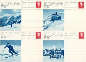 1948 Tátra, Magas Tátra, Vysoké Tatry; Zimné Sletové Hry vo Vysokych Tatrách / Les Jeux dHiver dans les Hautes Tatras / Téli sportjátékok a Magas Tátrában / Winter Sport Games in the High Tatras, ski - 8 db díjjegyes lap / 8 postcards
