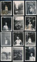 cca 1955 Kinszki Imréné és Kinszki Judit felvételei egymásról és a barátokról, minden kép datálva, 12 db vintage fotó, 5,8x4,6 cm