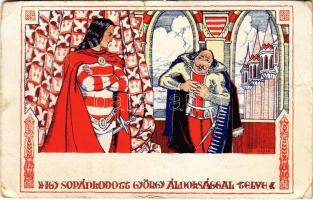 Így sopánkodott György álnoksággal telve. Fáy Aladár iparrajziskolai tanár rajzsorozata Arany János Toldi-jához, Jelenet a VIII. énekből (EB)