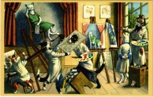 Cat art school - modern postcard