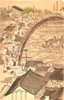Ismeretlen jelzéssel, kínai alkotó XX. közepi munkája: Forgatag. Akvarell, tus, papír. Hátoldalán apró foltokkal. 93×60 cm