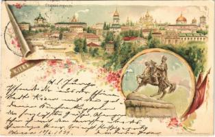 1899 (Vorläufer) Kiev, Bohdan Khmelnytsky Monument. Art Nouveau, floral, litho