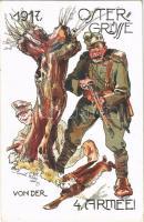1918 A 4. hadsereg húsvéti üdvözlete / Ostergrüsse von der 4. Armee! / WWI K.u.k. Easter greeting art postcard s: Emil Weiss
