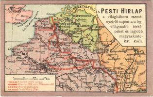 Pesti hírlap első világháborús térképe az 1918-as tavaszi offenzíváról / WWI Map of the Spring Offensive in 1918 (EK)