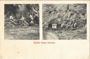 Gyalár, Ghelari; bánya, iparvasút, bányászok munkában / mine, miners at work, industrial railway, mine cart (EK)