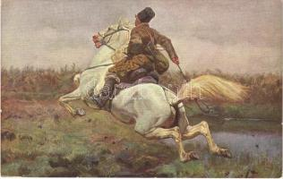 Huntsman / Polish hunter art postcard s: Józef Chelmonski