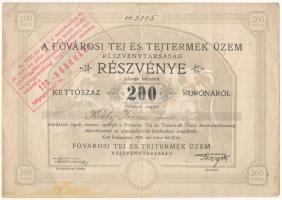 Budapest 1920. A Fővárosi Tej és Tejtermék Üzem Részvénytársaság névre szóló részvénye 200K-ról, szelvényekkel, felülbélyegzéssel, szárazpecséttel T:III