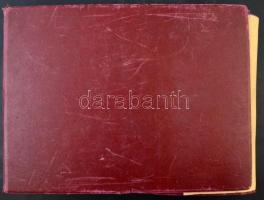 Régi nagyalakú ívberakó, pergamen lapokkal, bordó borítóval, használt