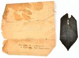 1894 Kossuth Lajos temetésénél a koporsóba tett koszorúkból származó levéldarab, 11x5 cm