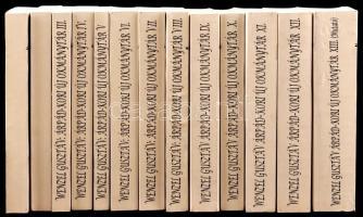Wenzel Gusztáv: Árpád-kori új okmánytár. I-XIII. köt. Codex Diplomaticus Arpadianus Continuatus. Pápa, 2001-2003, Jókai Mór Városi Könyvtár. Kiadói papírkötés, egy-két sarkán kis gyűrődéssel, jó állapotban.