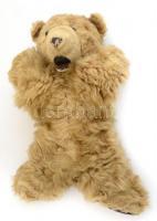 Régebbi játék mackó (teddy), bőr feltétes orral, szájjal és talpakkal, kopásnyomokkal, m: 36 cm