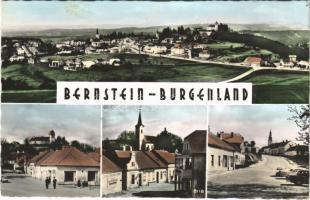 1963 Borostyánkő, Bernstein; látkép, vár, utca, üzlet, automobilok / general view, castle, street view, shops, automobiles (gyűrődés / crease)