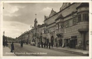 1938 Kismarton, Eisenstadt; Hauptstrasse, Rathaus, Stüberl / Fő utca, városháza, Johann Gamfl, Alois Kröpfl üzlete / main street, town hall, shop
