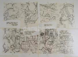 A kolozsvári bíró (az Olvass magadnak! sorozatból, írta Ligeti Róbert, illusztrálta: Tóth Péter) mese ofszet fólián, 5 db fólia, 61,5x72,5 cm