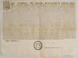 1776 Mária Terézia pátense a magyarországi arany bányászatról. Nagy méretű oklevél / Maria Theresia warrant regarding gold mining in Hungary 64x47 cm