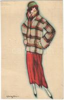 Fashion lady. Italian Art Deco postcard, Ballerini & Fratini 166. s: Chiostri