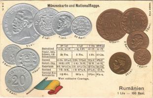 Rumänien. Münzenkarte und Nationalflagge. Lei, Bani / set of Romanian coins, national flag, golden and silver Emb. litho (wet damage)