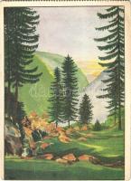 1938 A Hargita fölött még feljön a nap / Hungarian irredenta art postcard s: László d. Takács (EK)