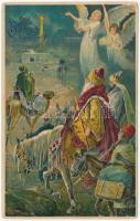 1910 Boldog karácsonyi ünnepeket! / Christmas greeting, Three Wise Men. Emb. litho