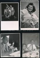 cca 1940 Kolozsvár feliratú, nyomdai fényképtartó tasakban 10 db vintage fotó színészekről, 11,2x7,9 cm és 8,7x14 cm között