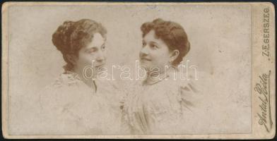 cca 1900 Zalaegerszeg, Antal Béla fényképész műtermében készült, keményhátú vintage fotó, kopottas állapotban, 8,1x16,2 cm