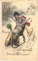 1901 Fröhliche Weihnachten! / Christmas greeting art postcard, romantic couple with sled, winter sport. Theo. Stroefer Serie 204. No. 4. (fl)
