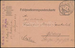 1916 Tábori posta levelezőlap K.u.k. Bel. Abt. Nr. 1/Fs. A.R.I. 15. Zug + FP 223