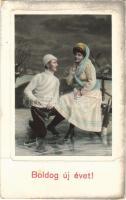 1911 Boldog Újévet! / New Year greeting with romantic couple, ice skate, winter sport (fa)