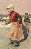 1915 Ice skate, winter sport. litho