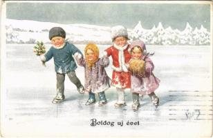 1920 Boldog Újévet! / New Year greeting children art postcard, winter sport, ice skate. B.K.W.I. 3102/2. s: K. Feiertag (Rb)