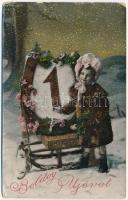 1908 Boldog Újévet! / New Year greeting with girl and sled, winter sport (kopott sarkak / worn corners)